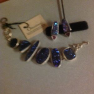 obsidian Jewelry - Bracelet and matching earrings